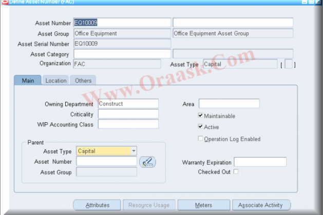 API to create eam asset number in oracle apps r12 - Oraask