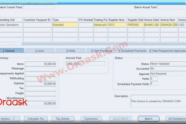 Create AP Invoice using AP open interface in oracle apps R12